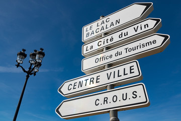 Direrction signs for places of interest in the city of Bordeaux, France