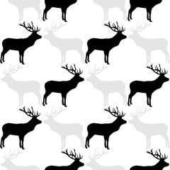Seamless vector background with deer. Graphic element for design. Can be used for wallpaper, textile, invitation card, wrapping, web page background.