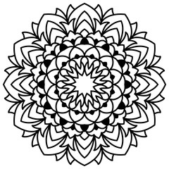 Laser cutting mandala. Vector flower for coloring book. Floral ornament for antistress adult drawing. Complex design.