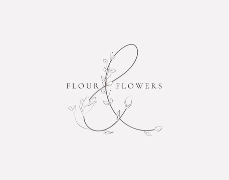 Vector Floristic Feminine Brand Logo Template Monogram.