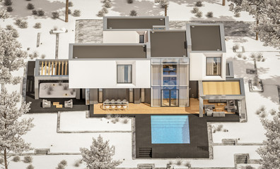 3d rendering of modern cozy house with garage and garden. Cool winter day with shiny white snow. For sale or rent with beautiful white spruce on background