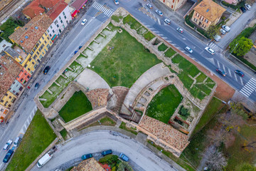 Aerial view of the medieval fortifications of popular travel destination beach town Fano in Italy near Rimini in the Marche region.