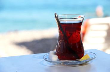 Traditional Turkish tea on the beach