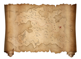 Wall Mural - pirates old treasure map scroll isolated on white