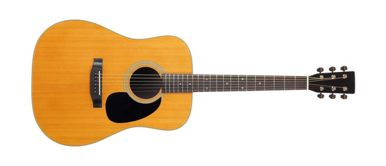 Obraz Musical instrument - Front view classic vintage acoustic guitar. Isolated - fototapety do salonu