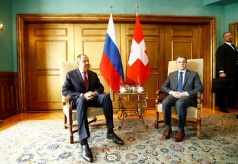 Russian Foreign Minister Lavrov attends a meeting with Swiss Foreign Minister Cassis in Geneva