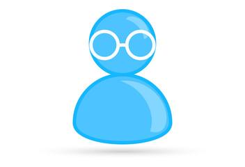 blue male profile picture, silhouette profile avatar icon symbol with glasses