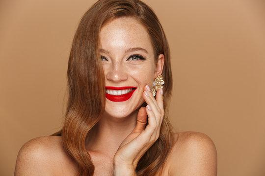 Close up of a beautiful young woman wearing makeup
