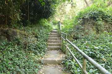 stairs up to Wong bon waterfall Travel location in Thailand