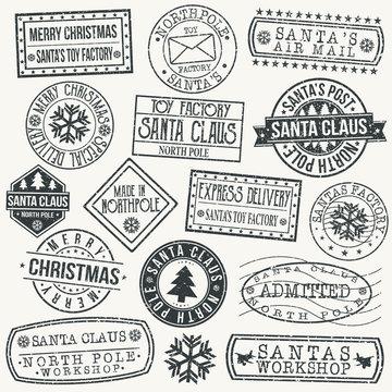 Santa Claus North Pole Quality Original Stamp Design Vector Art Round Seal