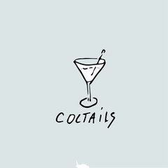 Vector hand drawn template, and inscription cocktails