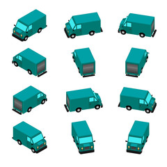 Animation of the rotation of the car in isometric view. Delivery van with different viewing angles.