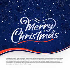 Merry Christmas vector text. Calligraphy Font style Banner. Calligraphic Lettering design card template. Calligraphy Font composition on blue background. Vector illustration