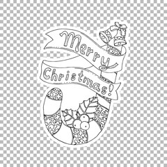 Merry Christmas lettering hand drawn vector illustration. Xmas candy cane, mistletoe clipart. Sketch sticker on transparent background. Holiday doodle drawing. Coloring book outline design element