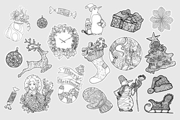 Winter stickers vector set. Christmas, New Year collection. Winter holidays hand drawn decorative cliparts. Sketch outline drawings. Coloring book Xmas linear illustrations, patches