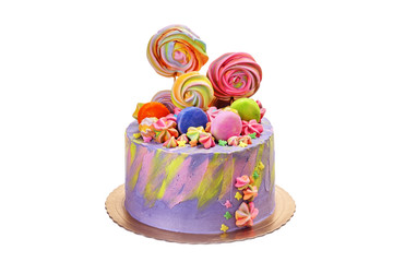 Colorful delicious cake with marshmallows and candies.