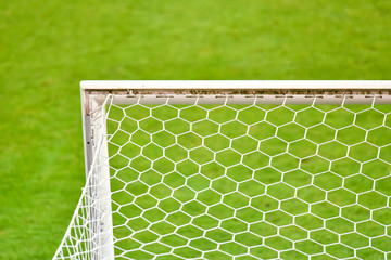 Detail of football goal with the net.