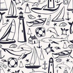 Hand drawn nautical icon set. Vector  seamless pattern