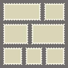 Set of blank postage stamps on dark background. Vector illustration