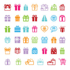 Gifts icons set. Vector illustration.