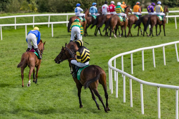 Jockeys and race horses gathering on the track for a race