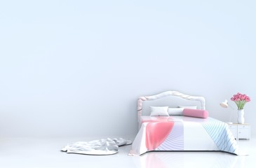 White bed room decor with striped bed, pillows, bedside table,light striped pink blanket, tulips, White cement wall, white tile floor. Valentine's day. 3d rendering.