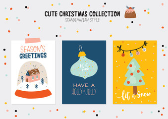 Christmas kit of cute winter postars and cards. New Year elements and holiday typography. Isolated. Scandinavian style illustration good for stickers, labels, tags, cards, posters. Vector