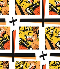 Hand drawn vector abstract graphic drawing seamless pattern of anger tiger face in orange colors isolated on white background.Hand made exotic sketch collage illustration.Wild soul concep