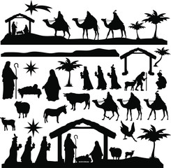 Christmas Scene Nativity Silhouette Clip Art Design Scrapbook