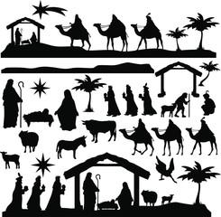 Christmas Scene Nativity Silhouette Clip Art Design Scrapbook