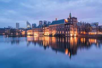 Netherlands, Holland, The Hague , Binnenhof in the evening