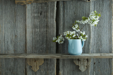 Twig of cherry blossoms in jar in front of rustic wooden wall
