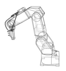 Fotobehang Schilderingen 3D outline Robotic arm. Vector rendering of 3d