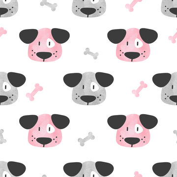 Seamless cute dog pattern. Vector background with watercolor puppy and bones.