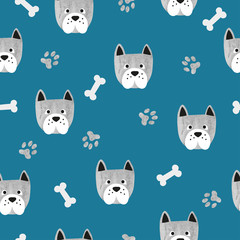 Seamless cute dog pattern. Vector background with watercolor bulldogs and bones.