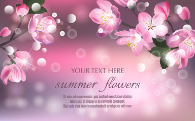 Vector banners set with roses, hydrangea and tulips flowers.Template for greeting cards, wedding decorations, invitation ,sales, packaging. Spring or summer design. Place for text.