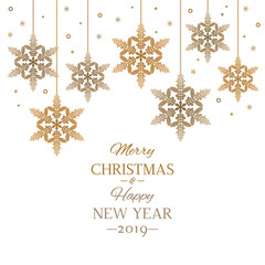 New Year greeting card or banner. stylized snowflakes and the inscription Merry Christmas and Happy New Year . flat vector illustration isolated
