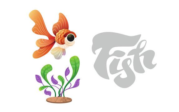 Goldfish on the background of algae. Cartoon style