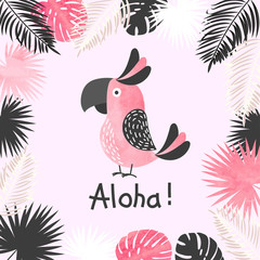 Summer tropical vector illustration with watercolor cute parrot and palm leaves.