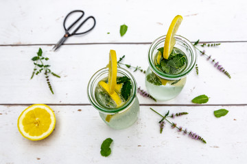 Infused water with mint and lemon, detox