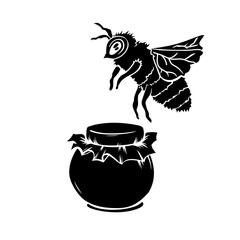 Laser Cut Black Vector Silhouette Of Bee and Glass or Mason Jar. Isolated Template for Cutting and Crafts