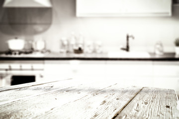 Table background of kitchen and free space for your decoration.