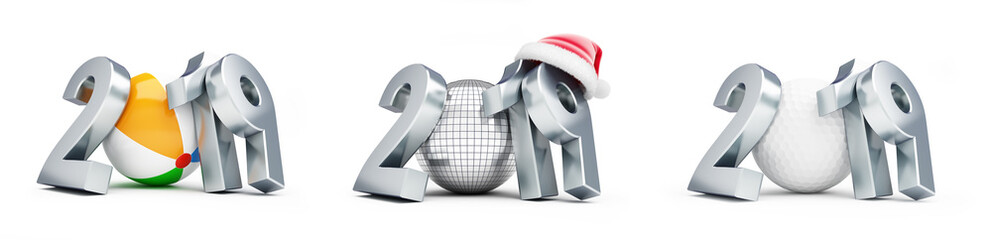 disco ball, golf ball, beach ball new year santa hat 2019 set on a white background 3D illustration, 3D rendering