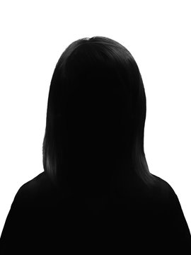 Silhouette of a young woman posing on a white background