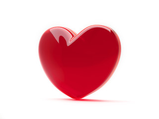 Red heart isolated on white background. St valentine's symbol. 3d rendering.