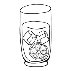 Glass beaker with a soft drink summer. Glass with citrus and ice cubes. Vector illustration.