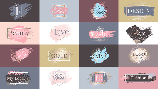 Gold paint ink brushstroke set, line lipstick golden powder texture with frame. Grunge dirty artistic glamour design element, box background for logo quotes text. Hand drawn vector