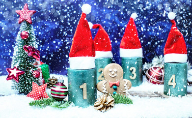 1.Advent Weihnachtsmann Mütze Advent Kerzen
