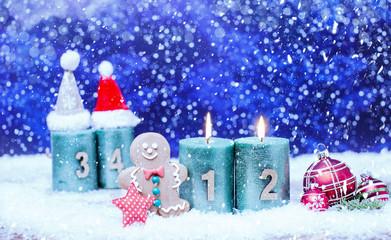 2.Advent Kerzen Hintergrund Banner Himmel Nacht Sterne