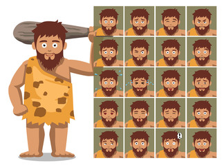 Caveman Family Father Cartoon Character Emotions